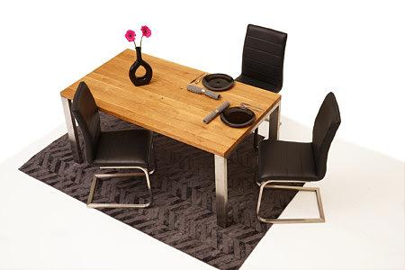 Mamut2 aranżacja jadalni stół dębowy na metalowych nogach