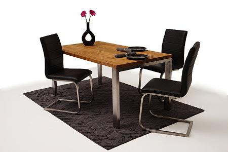 Mamut2 pomysł aranżacja stół drewniany dębowy z metalowymi nogami