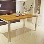 masywny stół z litego drewna dębowego nogi stal nierdzewna