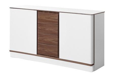 Ovo biała szafka z brązowymi szufladami