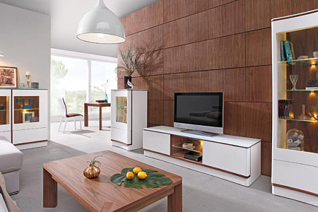 Kolekcja salon Ovo pokój dzienny białe matowe meble do salonu z wklęsłymi frontami
