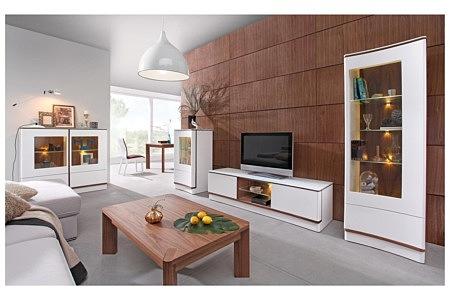 Kolekcja salon Ovo białe meble matowe wygięte wklęsłe fronty szafek