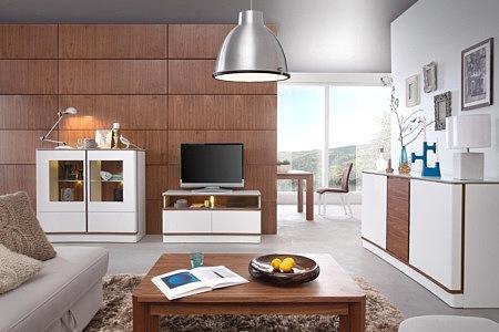 Ovo białe meble do nowoczesnego salonu przykład urządzenia mieszkania