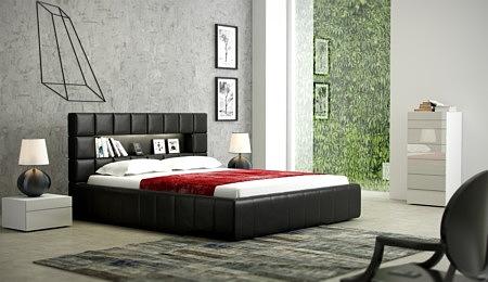 plaza nowoczesne łóżko skórzane do sypialni zagłówek oparcie w pikowane kwadraty