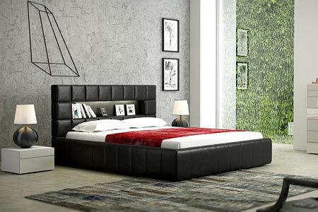 plaza nowoczesne łóżko z czarnej skóry oparcie kwadraty