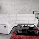 Relax III biały narożnik skórzany nowoczesny z relaxem