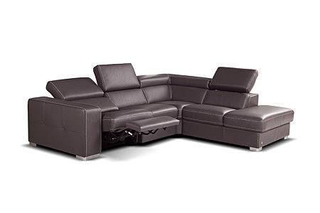 Bugamo brązowy skórzany duży narożnik sofa z funkcją relax elektryczny