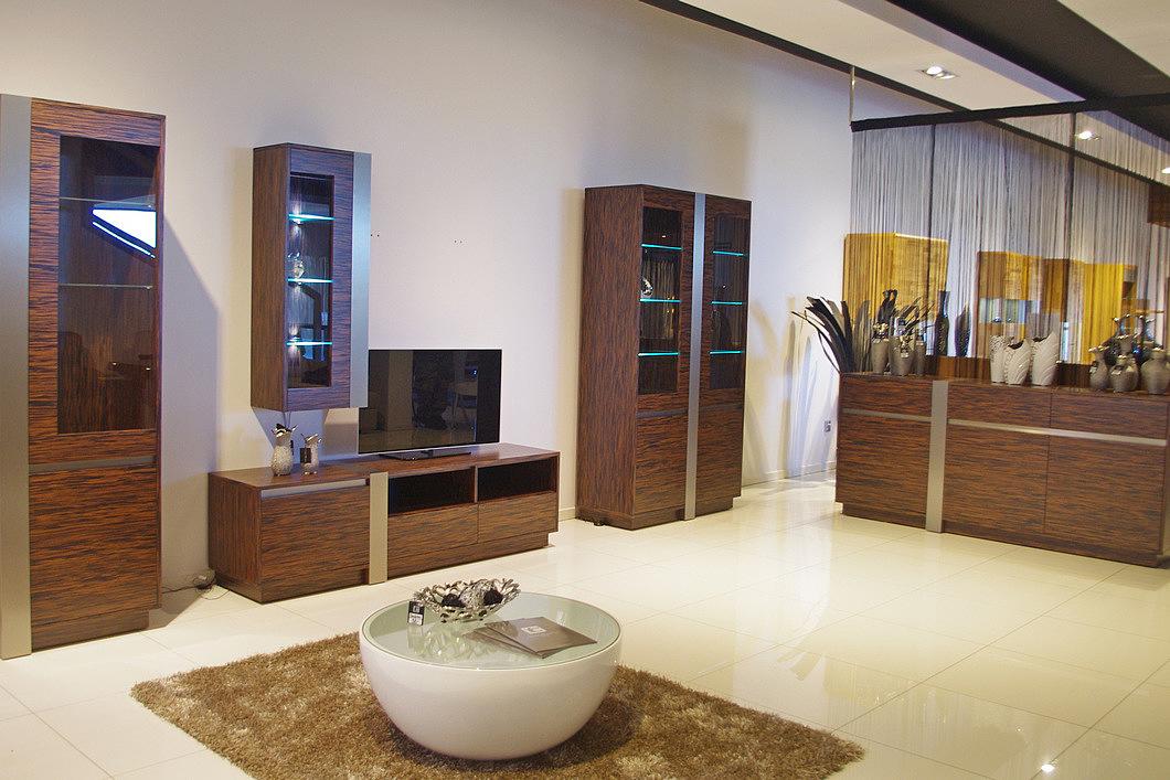 Kolekcja salon Madera pokój dzienny meble z naturalnej okleiny heban fronty ze wstawkami z metalu elementy dekoracyjne metalowe