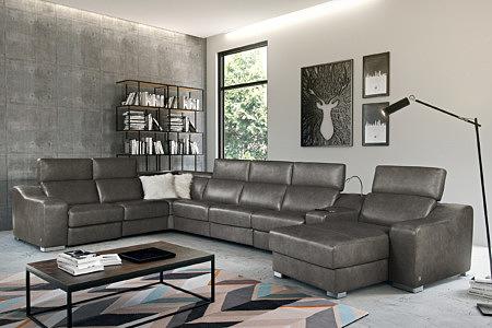 Saphire inspiracja wizualizacja dużego wypoczynku w salonie brązowy skórzany
