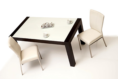 Barcelona zestaw mebli nowoczesny stół z białym blatem krzesła