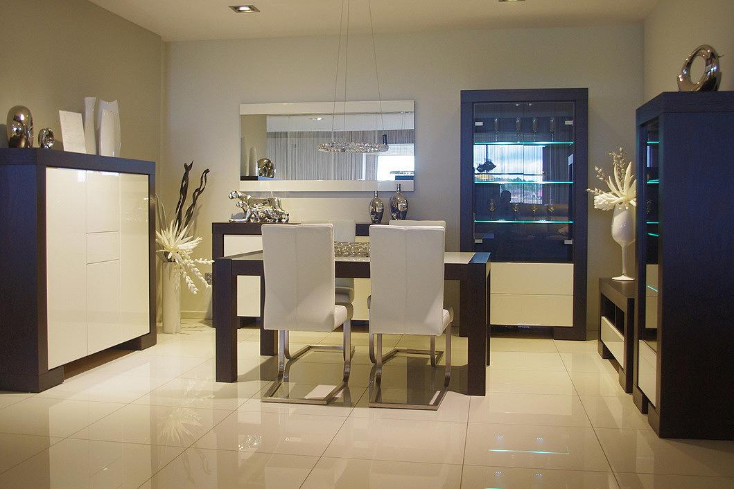Kolekcja salon Barcelona II pokój dzienny eleganckie nowoczesne meble korpus brązowy wenge fronty białe wysoki połysk