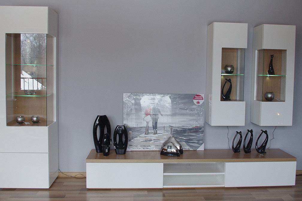Kolekcja salon Apollo II pokój dzienny nowoczesna biała meblościanka w połysku