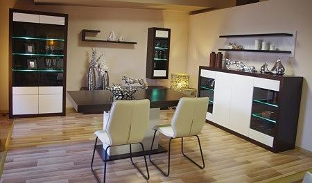 Kolekcja salon Negros pokój dzienny meble naturalnej okleiny dębowej fronty lakierowane na wysoki połysk