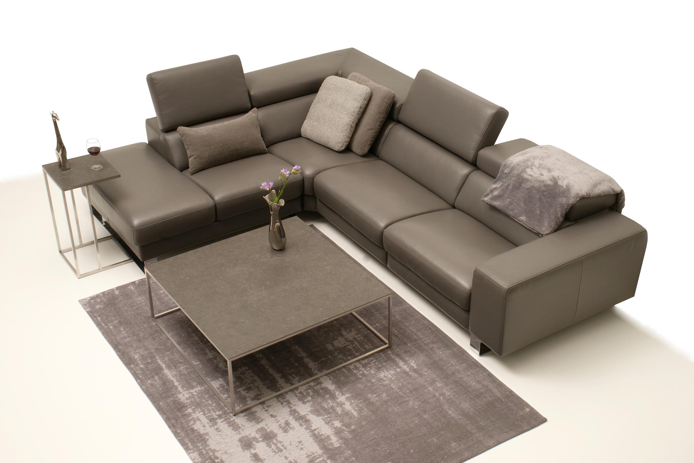Bugamo2 - brązowy skórzany narożnik do salonu - meble wypoczynkowe klasy premium