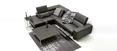 Bugamo2 sofa z brązowej skóry naturalnej do nowoczesnego salonu