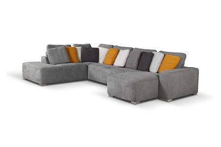 Flavio - szary nowoczesny narożnik do salonu, szare pomarańczowe białe czarne poduszki, metalowe nogi, wygodne siedziska