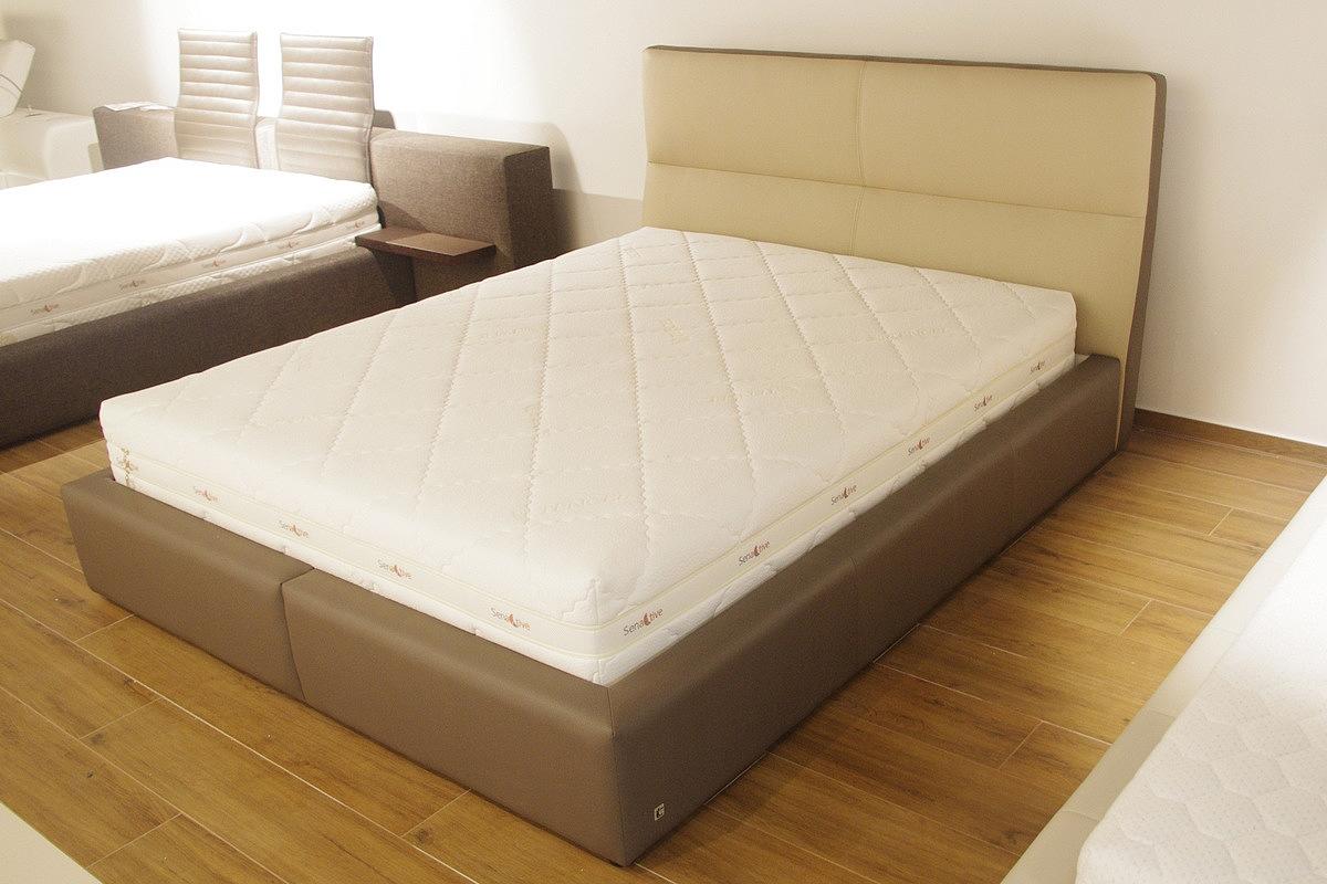 malta łóżka skórzane brązowe z zagłówkiem