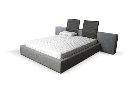 Naomi nowoczesne duże łóżko do sypialni z czarnymi oparciami