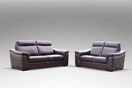 Bolero - elegancki zestaw wypoczynkowy, dwie sofy skórzane z brązowej skóry naturalnej włoskiej