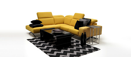 Giotto stylowy salon z żółtą sofą aranżacja pomysł na nowoczesne wnętrze
