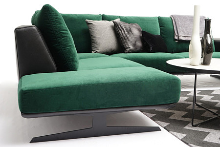 Rimini bok siedziska narożnika z poduszkami na oparciu seledynowy zielony