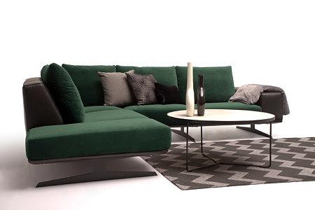 Rimini nowoczesny narożnik oparcie poduszki kolor ciemny zielony aranżacja