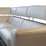 Grande - wypoczynek kanapa z podnoszonymi zagłówkami, tapicerka biała skórzana skóra naturalna