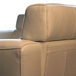 Grande - wypoczynek kanapa skóra biała, przeszycie grubą nicią, zdjęcie detalu wykonania