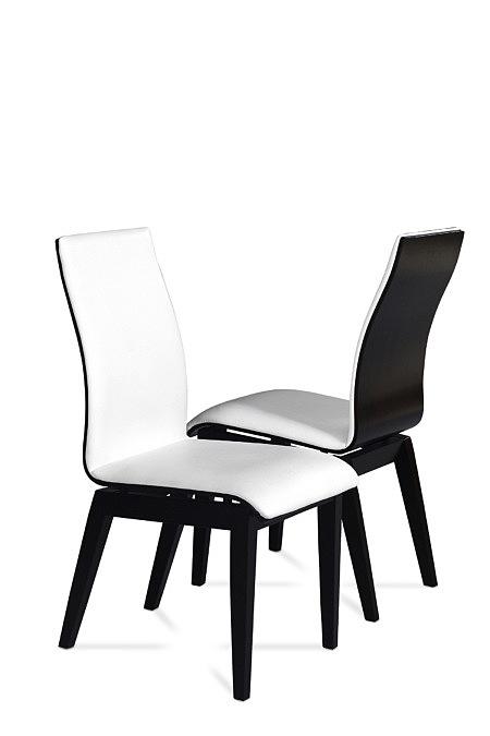 Belissa nowoczesne krzesła do jadalni białe siedzisko czarny tył i nogi