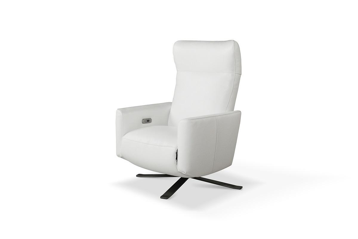 King elegancki nowoczesny fotel z białej skóry