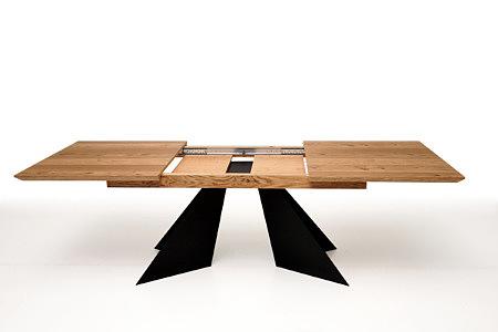 A10 stół dębowy rozkładany czarne metalowe nogi z blachy