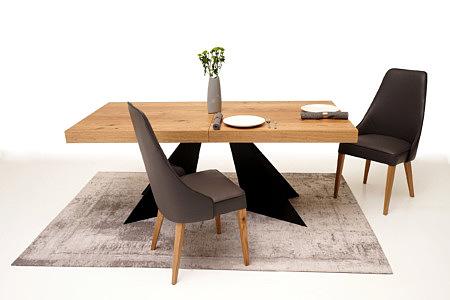 A10 stół z grubym blatem na czarnej metalowej solidnej nodze