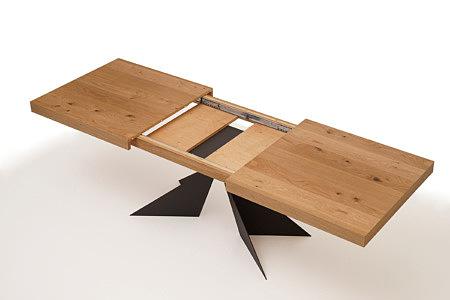 A2 duży stół z rozłożonym rozsuwanym blatem czarne nogi