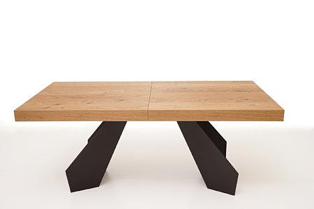 A6 stół do salonu z klejonki dębowej na metalowych nogach