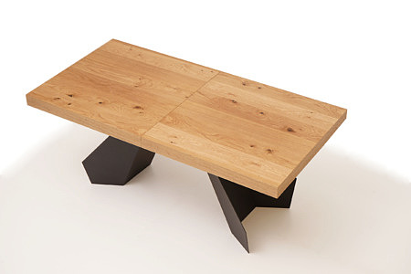 A6 stół rozkładany z rysunkiem słojów drewna