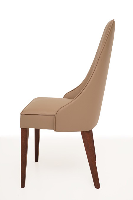 Marcelo krzesło do jadalni ciemno beżowe nogo drewniane brązowe
