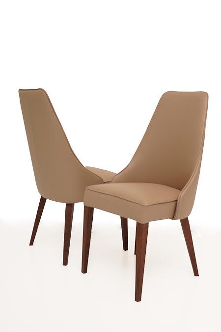 Marcelo krzesło okazjonalne do jadalni beżowe brązowe skórzane