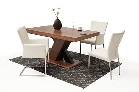 Nowoczesny stół drewniany orzech amerykański masywna noga w krztaucie X 1