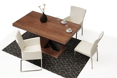 Nowoczesny stół drewniany orzech amerykański masywna noga w krztaucie X 2