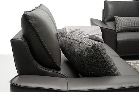 Aviva czarna nowoczesna sofa skórzana poduszka na oparciu