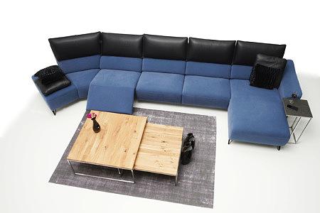 Aviva duży narożnik dwukolorowy czarne oparcie niebieskie siedzisko