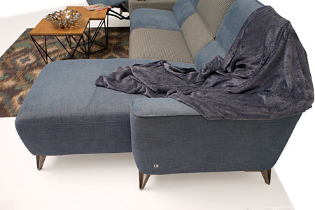 Aviva elegancki nowoczesny niebieski szary narożnik tapicerowany