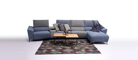 Aviva narożnik niebieski tapicerowany szare poduszki w kratkę