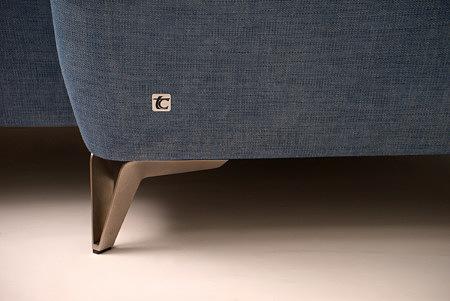Aviva wysokie metalowe nogi narożnika sofy ze stali szczotkowanej