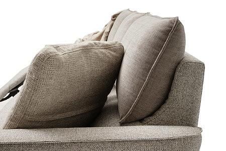 Aviva2 detal wykonania sofy jasno brązowej tkanina fargotex