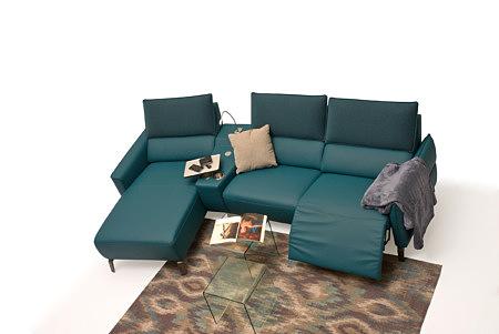 Aviva2 elegancki skórzany nowoczesny narożnik z funkcją relax
