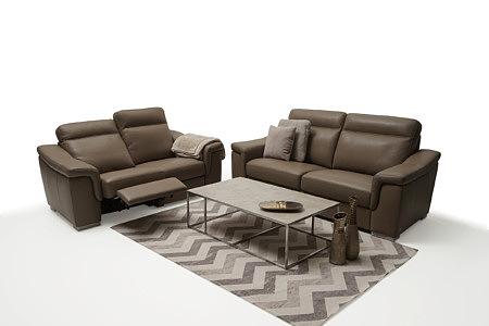 Bolero elegancka sofa skórzana brązowa z funkcją relax