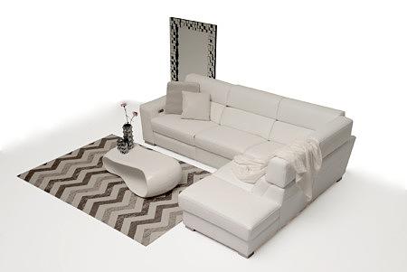 Giano biała elegancka sofa skórzana aranżacja salonu pomysł