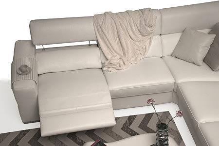 Giano biała elegancka sofa z funkcją relax