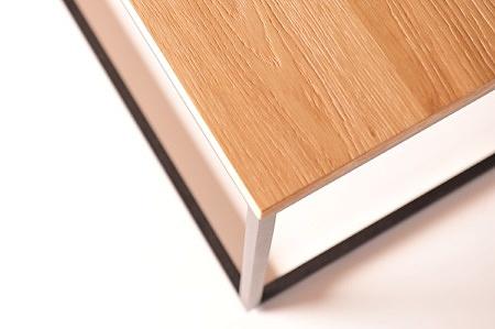 Idealna ława blat drewno dąb sękaty szczotkowany fornir metalowa czarna proszkowo malowana noga